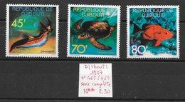 Poisson Limace Tortue - Djibouti N°465 à 467 1977 ** - Vie Marine