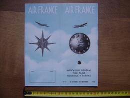 1950 Dépliant Horaires & Tarifs Timetable AIR FRANCE Vols Aériens AVIATION AVION - Aviation Commerciale