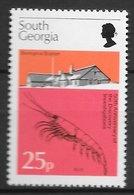 Poisson Crustacé Crevette - Géorgie Du Sud N°55 25p 1976 ** - Crustaceans