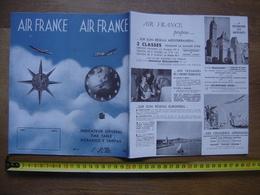 1951 Dépliant Horaires & Tarifs Timetable AIR FRANCE Vols Aériens AVIATION AVION - Aviation Commerciale