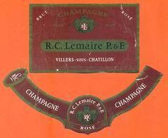 étiquette + Collerette De Champagne Brut Rosé R C Lemaire P Et F à Villers Sous Chatillon - 75 Cl - Champagne