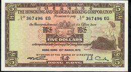 HONG-KONG P181e    5 DOLLARS 1972   #EG      AU-UNC. - Hong Kong