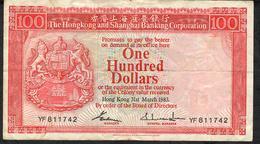 HONG-KONG P187    100 DOLLARS 1983  #YF      VF   NO P.h. - Hong Kong