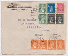 Izmir Turkey Forbes Company Air Mail Cover To Swansea - Lettre Turquie - 1921-... République