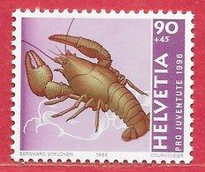 Poisson Crustacé écrevisse - Suisse N°1527 90c + 45c 1996 ** - Crustaceans