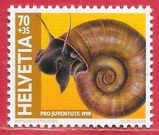 Poisson Mollusque Coquillage Escargot Planorbe - Suisse N°1594 70c+ 35c 1998 ** - Coneshells