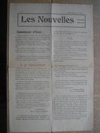 """""""LES NOUVELLES"""" N°1 Du 23 Aout 1914 Journal De SPA Publié Avec L'autorisation De L'armée Allemande - Documents Historiques"""