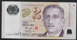 SINGAPORE P46g   2 DOLLARS  2015  XF-AU - Singapour