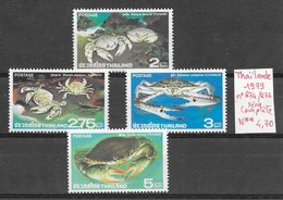 Poisson Crabe - Thaïlande N°874 à 877 1979 ** - Crustaceans