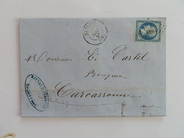 EMPIRE NON DENTELE 14 SUR LETTRE DE MAZAMET A CARCASSONNE DU 10 MAI 1861 (PETIT CHIFFRE 1943) - Postmark Collection (Covers)