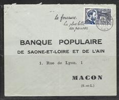 LOT 1812083 - N° 1015 SUR LETTRE DE CHALON SUR SAONE DU 18/09/56 - PUBLICITE FOURRURE - 1921-1960: Modern Period