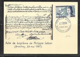 LOT 1812085 - N° 1012 SUR CP DE BRACHAY DU 05/03/55 - OBITERATION PREMIER JOUR - ACTE DE BAPTEME DE PHILIPPE LEBON - Marcophilie (Lettres)