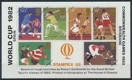 Stampex 1982 World Cup Spain Commonwealth Games Brisbane Vignette - Briefmarken