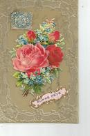 CPA Bakelite Bonne Fete Joli Decoupis Roses Oblitéré A Villaines Indre Et Loire 1907 - Cartes Postales