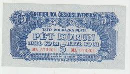 Czechoslovakia 5 Koron 1944  Pick 46 AUNC - Tchécoslovaquie