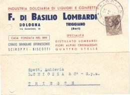 Cartolina Commerciale Basilio Lombardi 1957 Bologna - 6. 1946-.. Republic