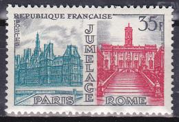 Timbre-poste Gommé Neuf** - Jumelage Paris-Rome Hôtels De Ville De Paris Et De Rome - N° 1176 (Yvert) - France 1958 - France