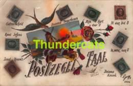 CPA PHOTO MONTAGE LE LANGAGE DES TIMBRES POSTZEGEL TAAL - Timbres (représentations)