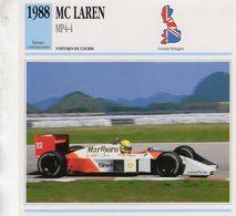 Fiche  -  Formula 1 Grand Prix Cars  -  McLaren MP4-4  -  Ayrton Senna  -  Carte De Collection - Grand Prix / F1