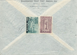 Greece Cover Sent To Germany (British Zone) Stamps On The Backside Of The Cover - Greece