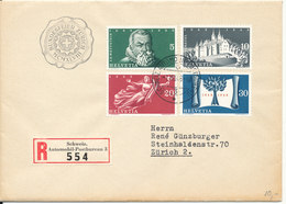 Switzerland Registered Cover With Complete Set 300 Years Independence Automobil-Postbureau 3 Postmark - Zwitserland
