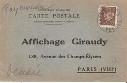 Vendée :- FAYMOREAU Dateur Type A4 Sur Attestation D'affichage - Marcophilie (Lettres)