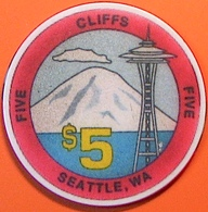 $5 Casino Chip. Cliffs, Seattle, WA. N07. - Casino