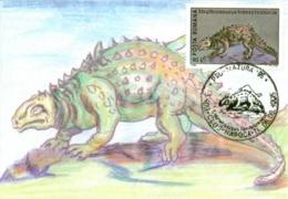 7288  Struthiosaurus: Carte Maximum, 1995 - Nodosaurid Dinosaurs, Late Cretaceous. Ostrich Autruche Dinosaure - Sellos