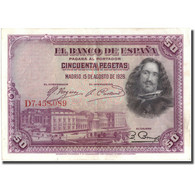 Billet, Espagne, 50 Pesetas, 1928, 1928, KM:75b, TTB+ - [ 1] …-1931 : Eerste Biljeten (Banco De España)