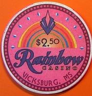 $2.50 Casino Chip. Rainbow, Vicksburg, MS. N07. - Casino