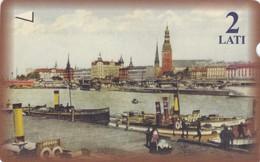 Latvia, M-009, 2 Ls, River, Steam Ships, 2 Scans. - Lettland