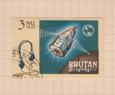 Bhutan SG 66 1966 Centenary Of I.T.U. 3 Nu Relay And Headphone, Used - Bhutan