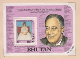 Bhutan SG 459MS 1982 21st Birthday Of Princess Diana, Miniature Sheet, Mint Never Hinged - Bhutan
