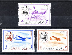 "Ajman - 1967. I Due Valori ""Aerei "" E Elicottero Della Serie. The Two Values ""Airplanes"" And Helicopter Of The Serie MNH - Elicotteri"