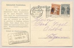 Schweiz - 1921 - 2,5c Overprint On 3c Tellkanbe On 7,5c Bundesbahn Postkarte From Luzern To Ungarn - Zwitserland