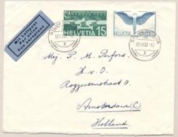 Schweiz - 1937 - 2x Flugpost On Airmail Cover From Silvaplana To Amsterdam / Nederland - Luchtpostzegels