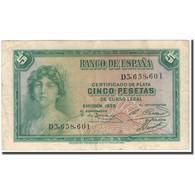 Billet, Espagne, 5 Pesetas, 1935, KM:85a, TTB - 5 Pesetas