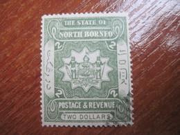 Stete Of North Borneo  1894  Arms 2 Dollars  CTO Glue - North Borneo (...-1963)