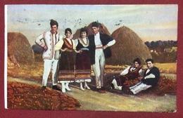 BULGARIA  COSTUMI LOCALI  RACCOLTA DEL GRANTURCO  CARTOLINA DA ALESSANDRIA  A DIANO MARINA IL 18/4/1930 - Bulgaria