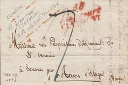 """OISE : Cursive Double """"58 LIANCOURT CLERMONT""""en ROUGE Datée De 1823 Indice 19 - 1849-1876: Période Classique"""