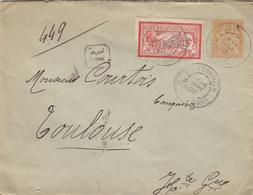 TARN ET GARONNE ENTIER 15C MOUCHON ENV 1902 VILLEBRUMIER LETTRE RECOMMANDEE ( 40C MERSON  DFT ) - 1877-1920: Période Semi Moderne
