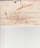"""OISE : """"58 LIANCOURT CLERMONT""""en ROUGE 44x9 Datée De 1817 Indice 12 - 1849-1876: Période Classique"""