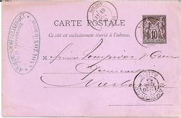 26B---Ardennes   NOUZON Pour Narbonne (11)   Type 19   Entier Postal Sage - Marcophilie (Lettres)