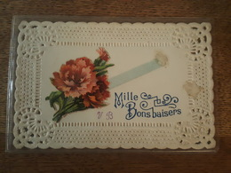 Bonne Année - Superbe Carte Ajourée Avec Collage De Chromos, Fleurs, Ruban - Nouvel An