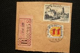 Petit Fragment Recommandé Cachet BPM601 1952 Postes Aux Armées Blason Béarn Arbois - Postmark Collection (Covers)