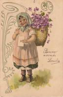Thematiques Voeux Bonne Année Louis Fillette Portant Lettre Et Cabas Fleurie Cachet 1905 - Neujahr