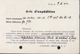 Entier Petain 1.20 CAD Paris 23 R Vauvenargues 1944 5 Ondulations Repiquage Avis D'expédition Chauvin Arnoux Cie Paris - Postal Stamped Stationery