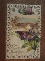 Je Les Ai Cueillies Pour Vous - Très Jolie Carte Ajourée -  Fleurs, Violettes, Pont - Fleurs