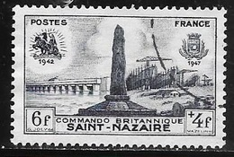 TIMBRE N° 786  -   COMMANDO BRITANIQUE ST NAZAIRE     - OBLITERE  -  1947 - Usados