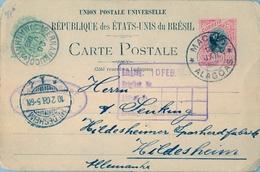 1908 , BRASIL , ENTERO POSTAL MACEIÓ ( ALAGOAS ) - WILDESHEIM , TRÁNSITO DE PERNAMBUCO , LLEGADA - Enteros Postales